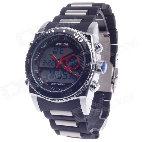 WEIDE WH-2316 Men's Quartz & LED Electronics Dual Time Display Wrist Watch - Black + Silver + Red weide wh 2303 stylish stainless steel men s analog quartz wrist watch silver blue 1 x cr2016