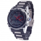 WEIDE WH-2316 Men's Quartz & LED Electronics Dual Time Display Wrist Watch - Black + Silver + Red