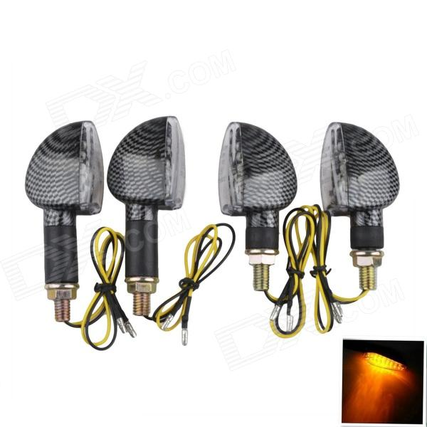 A-1307 Carbon Fiber 2W 112lm 14-LED Yellow Light Motorcycle Turn Signals - Black (12V / 4PCS) 1 pair chrome motorcycle mirror muscle led turn signals light moto rear side view mirrors case for harley v rod v rod vrscf