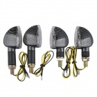 A-1307 Carbon Fiber 2W 112lm 14-LED Yellow Light Motorcycle Turn Signals - Black (12V / 4PCS)