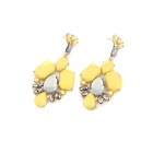 Fashionable Fluorescent Zinc Alloy Women's Earrings - Yellow + Gun Black