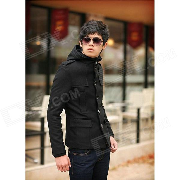W9012 Fashionable Men's Brief Paragraph Lapel Hooded Windbreaker - Black (Size-XL)