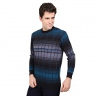 DI GUO BAO WANG Double Grid Stripe Men's Thermal Underwear Suits - Black + Blue + Grey (Size-XL)