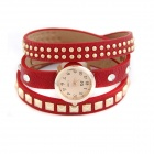 Rivets Punk Style PU Leather Multilayer Band Women's Quartz Wrist Watch - Red + Golden (1 x 377)