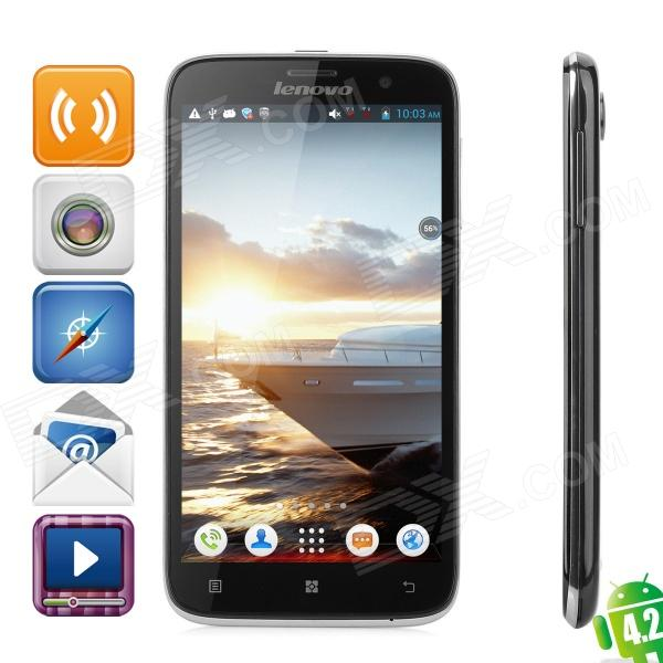 Lenovo A850 Quad-Core Android 4.2 WCDMA Bar Phone w/ 5.5 Screen, Wi-Fi and GPS - Black finesource g7 android 4 4 quad core wcdma bar phone w 5 5 4gb rom wi fi gps ota black