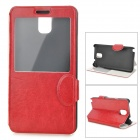 Protective PU Leather Case w/ Display Window / Stand for Samsung Galaxy Note 3 - Red