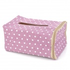 BD-01 Polka Dots Pattern Cotton Linen Tissue Box Case - Light Purple + White