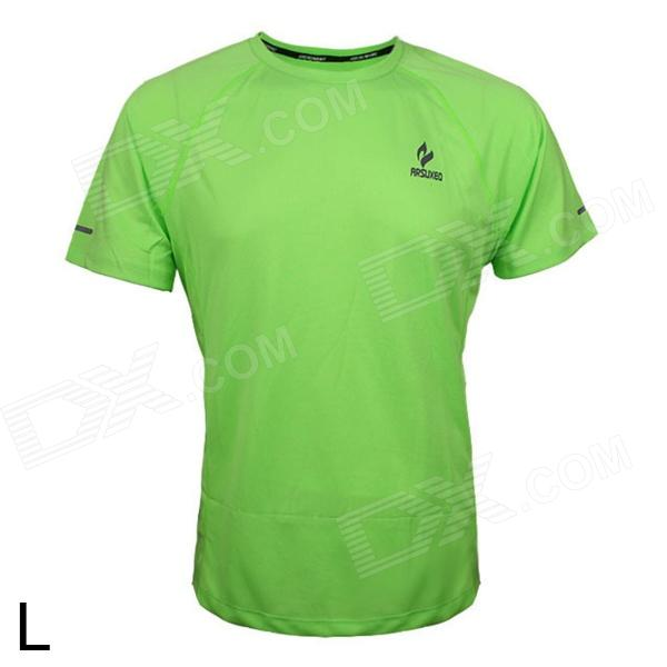 ARSUXEO T1301 Outdoor Sports Men's Breathable Quick-Drying Short T-Shirt - Green (Size L) arsuxeo ar113 sports quick dry skinny seventh pants for cycling running black l