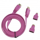 3-in-1 HDMI Male to Male Cable + HDMI Female to Micro HDMI / Mini HDMI Male Adapters - Deep Pink