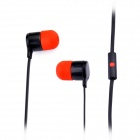 MQ02 Stylish In-Ear Earphones w/ Microphone - Black + Red (3.5mm Plug / 130cm-Cable)