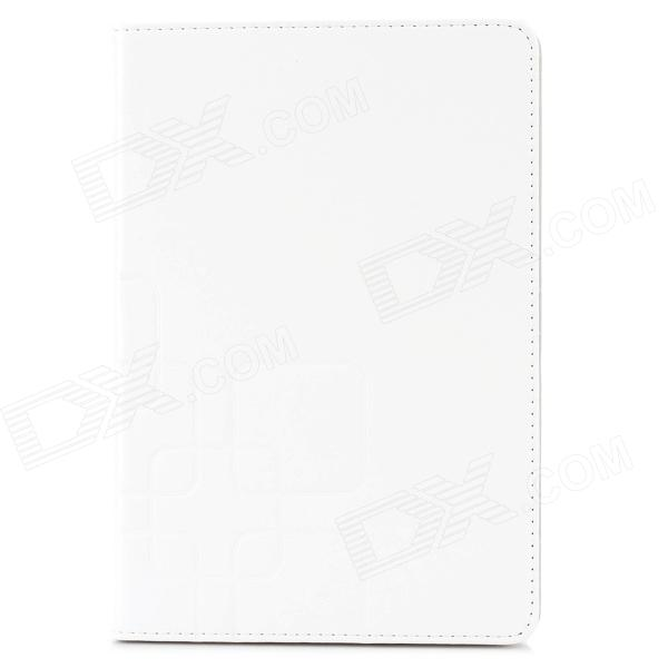 Protective Flip Open PU Leather + Plastic Case w/ Stand / Card Slots for iPad Mini - White