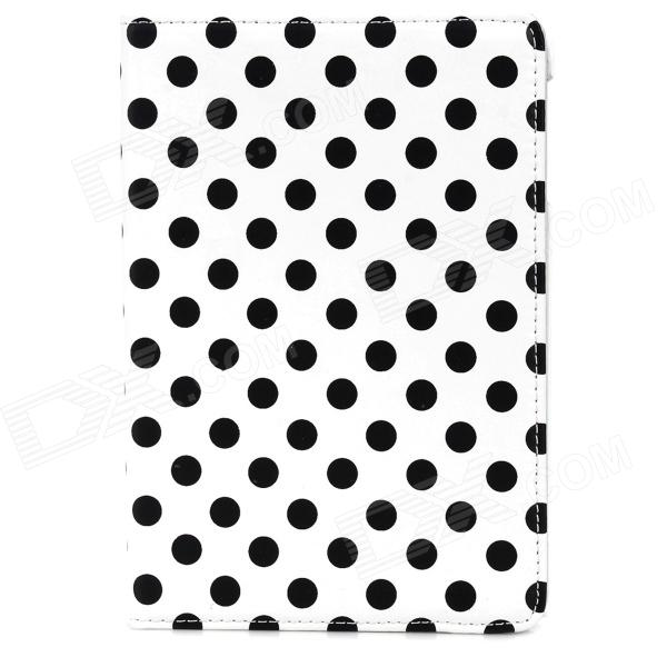 360' Rotation Stylish Polka Dot Pattern Protective PU Case w/ Stand for Ipad MINI 2 - White + Black for apple ipad mini 4 360 hand rotating case pc silicon stand flip cover wake up sleep with stylus black white rose alabasta