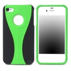 3-in-1 Cup Style Protective Plastic Back Case for Iphone 4 / 4S - Green + Black