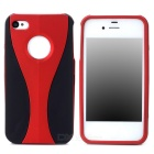 3-in-1 Cup Style Protective Plastic Back Case for Iphone 4 / 4S - Dark Red + Black