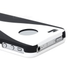 3-in-1 Cup Style Protective Plastic Back Case for Iphone 4 / 4S - White + Black