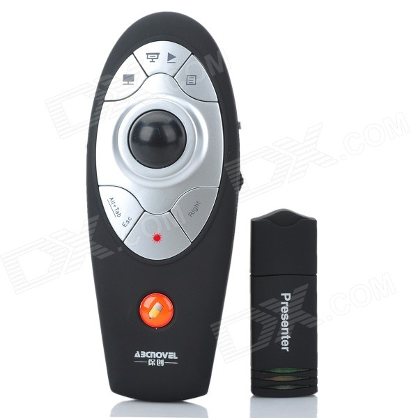 ABCNOVEL A05N Wireless 2.4GHz Remote Control Multifunction Presenter - Black + Silver (2 x AAA) lc 3000 2 4hz usb wireless presenter w red laser pointer silver black 2 x aaa page 3