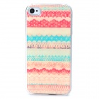 Protective Plastic + Epoxy Back Case for Iphone 4 / 4S - Blue + Beige + Red