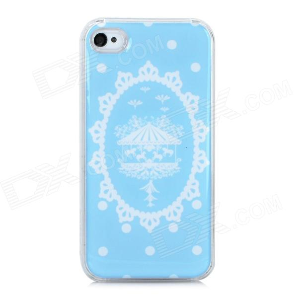 Fashionable Marry-Go-Round Pattern PC + Soft Enamel Magnetic Back Case for Iphone 4S / 4 - Blue fashionable cross design diamante alloyed back shell case for iphone 4 4s purple