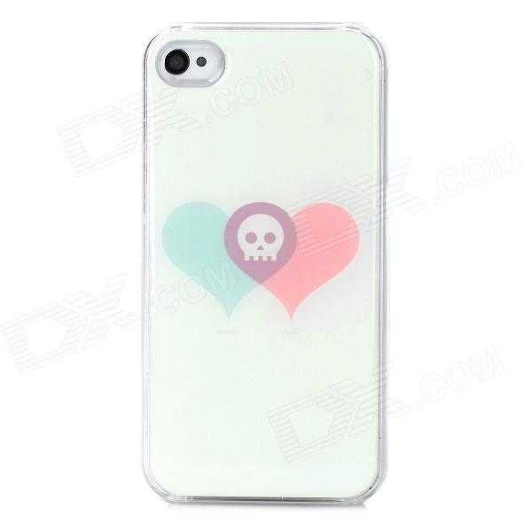 Skull Heart Pattern Protective Plastic + Soft Enamel  Case for Iphone 4 / 4S - Beige