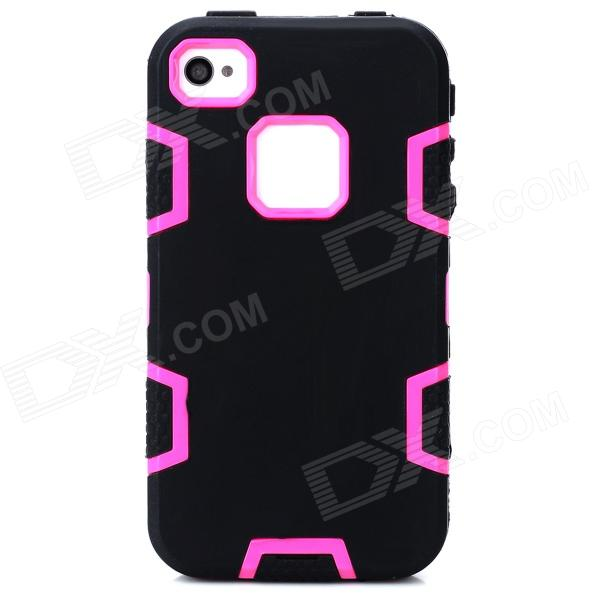 Protective Silicone + PC Case for Iphone 4 / 4S - Black + Deep Pink protective silicone case for nds black