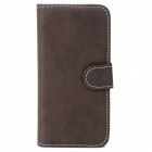 Fashionable Flip-open PU Leather Case w/ Holder + Card Slot for iPhone 5c - Brown
