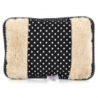 A072 Pulka Dots Pattern Rechargable Plush Electronic Hot Water Bag Hand Warmer - Black + White