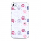 Owl Pattern Protective Plastic + Epoxy Back Case for Iphone 4 / 4S - White
