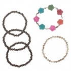 Fashionable Flower Beaded Wrist Bracelet for Women - Multicolored (5 PCS)
