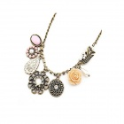 Vintage Blossoming Flowers Zinc Alloy Women's Necklace - Multicolored