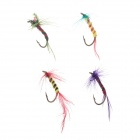 Flyfishing Lifelike Bird Feather Insects Style Fish Lure Bait Hook - Multicolored (4 PCS)