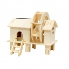 Robotime W150 DIY Educational Toys Solar Wood Waterwheel - Yellow