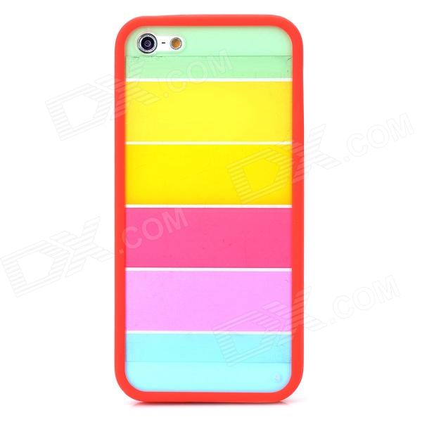 Colorful Ultrathin Protective Plastic Back Case for Iphone 5 / 5s - Red + Multicolor butterfly series plastic back case protective cover for iphone 5 5s