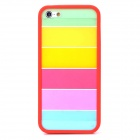 Colorful Ultrathin Protective Plastic Back Case for Iphone 5 / 5s - Red + Multicolor