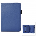 Lychee Grain Style PU Leather Case w/ Hand Strap Holder for Amazon Kindle Paperwhite K5 - Blue