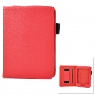 Lychee Grain Style PU Leather Case w/ Hand Strap Holder for Amazon Kindle Paperwhite K5 - Red