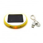 Roundness Solar Powered Rechargeable 1800mAh Li-ion Power Bank for Cell Phone / Iphone - Yellow
