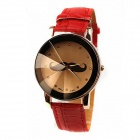 Dandan 62979 PU Leather Band Quartz Women's Wrist Watch - Red + Black + Brown