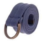 "Canvas Waistband Belt w/ ""D"" Type Aluminum Alloy Buckle - Blue + Bronze"