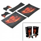 SYVIO Flame Skull Pattern Host & Handle Stickers for Xbox X360 Thick Version - Black + Red