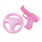 eJ YX-12 2-in-1 Wii Game Controller Component Vibration Holster + Steering Wheel Set-Rosa