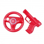 e-J YX-13 2-in-1 Wii Game Controller Component Vibration Holster + Steering Wheel Set -Red