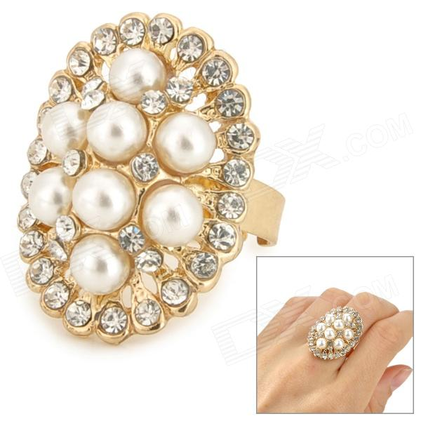 Oval Shape Elegant Women's Zinc Alloy + Artificial Pearl Ring - Golden + White