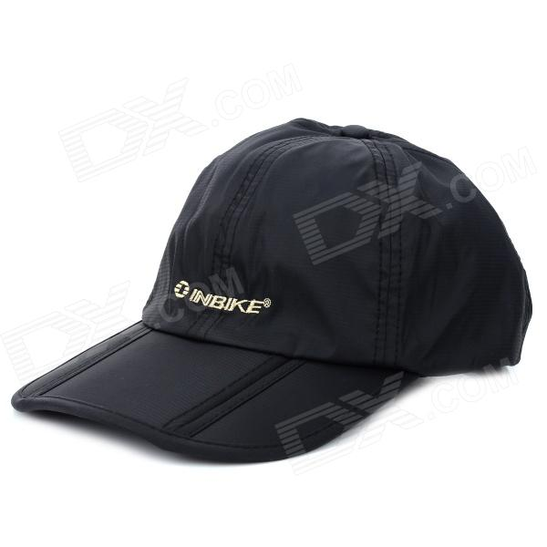 INBIKE Outdoor Quick-dry Folding Dacron Peaked Cap Hat - Black