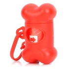 Doglemi DM90011-1 Pet Bone Shaped Waste Bag Carrier Holder Case Dispenser Dog Poo Pick Up Bags - Red