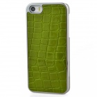 Protective Aluminum Alloy Back Case w/ Crocodile Pattern PU Leather for Iphone 5 - Green + Silver