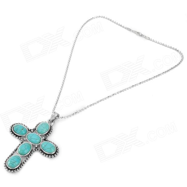 Cross Style Pendant Elegant Necklace - Green + Silver