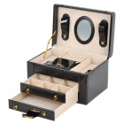 PU Leather Triple Layers Jewelry Ornaments Square Storage Case w/ Lock / Mirror / Handle - Black