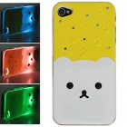 Protective Plastic Back Case w/ Calling 7-Color Flash / Contract Switch for Iphone 4 / 4S - Yellow