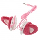 A35 Cute Plush Ornaments Earphones - Red + Pink + White (3.5mm Plug / 120cm-Cable)