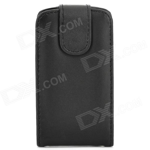 Protective Top Flip Open PU Leather Case for Samsung Galaxy Young S6310 / S6312 - Black protective pu leather top flip open case for samsung i9220 black
